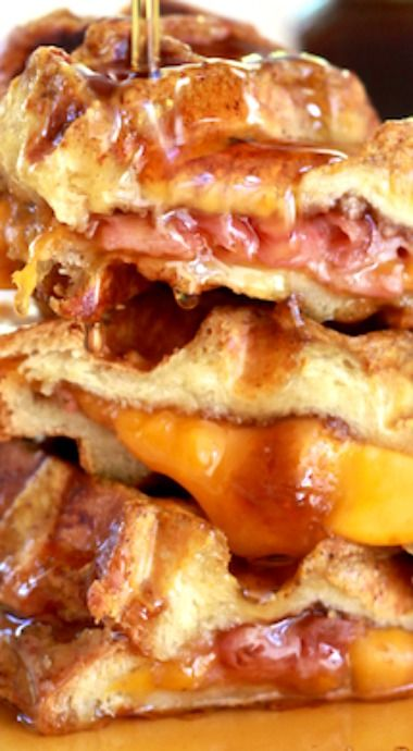 Ham & Cheese Stuffed Pumpkin Spice French Toast Waffles