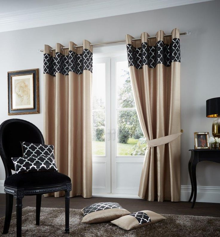 Shiny Latte Black Lined Eyelet Curtains – Linen and Bedding