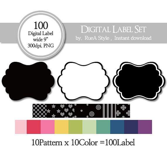 SALE 100 Digital Label dot star heart stripe circle by rueastyle