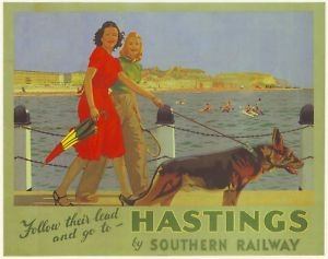 'Follow their lead and go to - Hastings by Southern Railways' advertising Poster