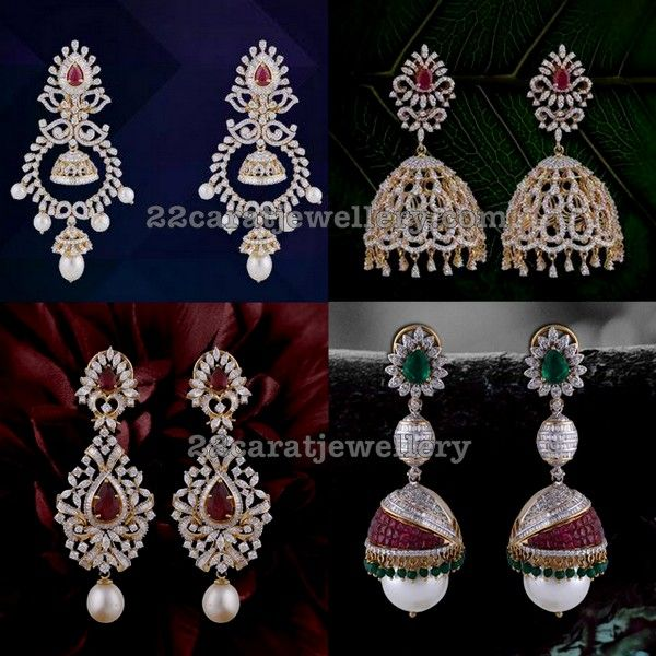 Diamond Jhumkas Earrings By Psj Traditional Gold Collection Pinterest Jewelry And