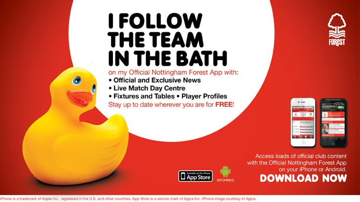 Follow the team in the bath from the Official Nottingham Forest App.