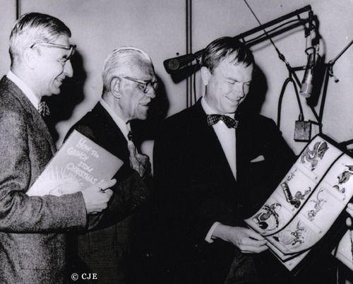 """Chuck Jones, famous illustrator & animator of """"Dr. Seuss' How the Grinch Stole Christmas!"""" with the voice actor of The Grinch, Boris Karloff!"""