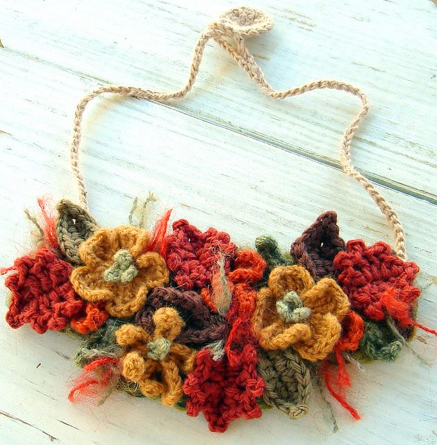 fall crocheted necklace