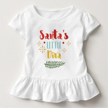 Santa's little diva funny Christmas quote Toddler T-shirt - holidays diy custom design cyo holiday family