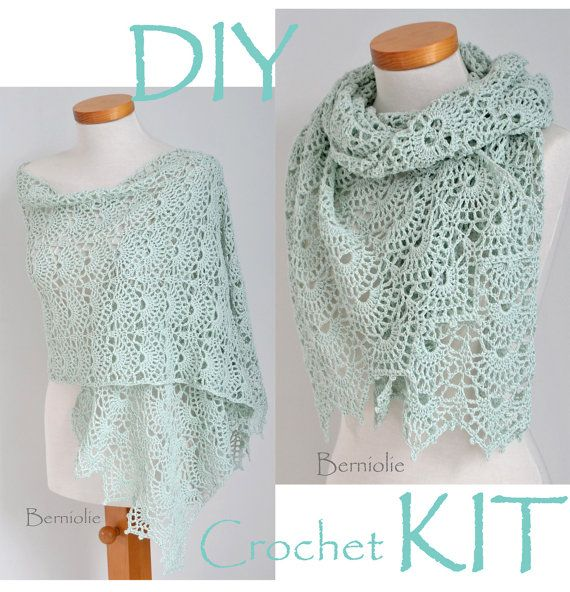 DIY Crochet Kit, Crochet shawl kit, SILVER, Mint Green, yarn and pattern