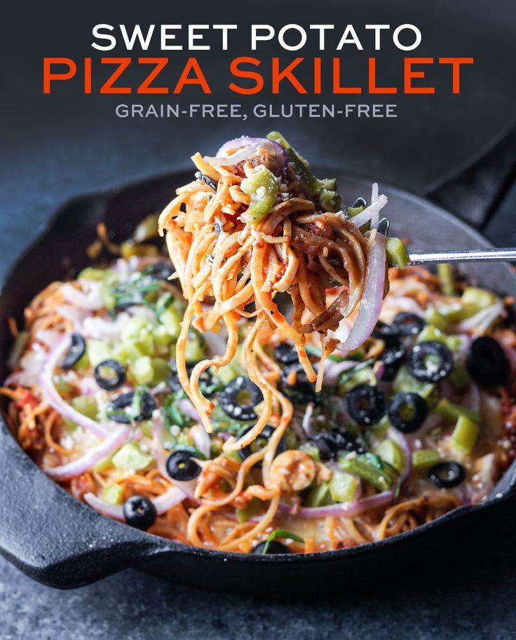 Spiralized Sweet Potato Pizza Skillet