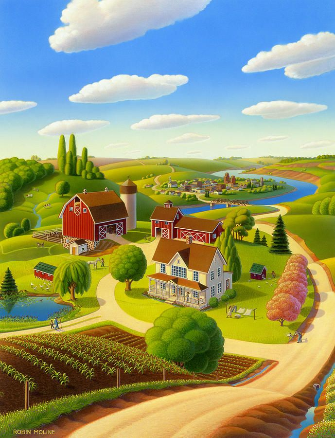Home to Harmony by Robin Moline ~ countryscape farm acrylic