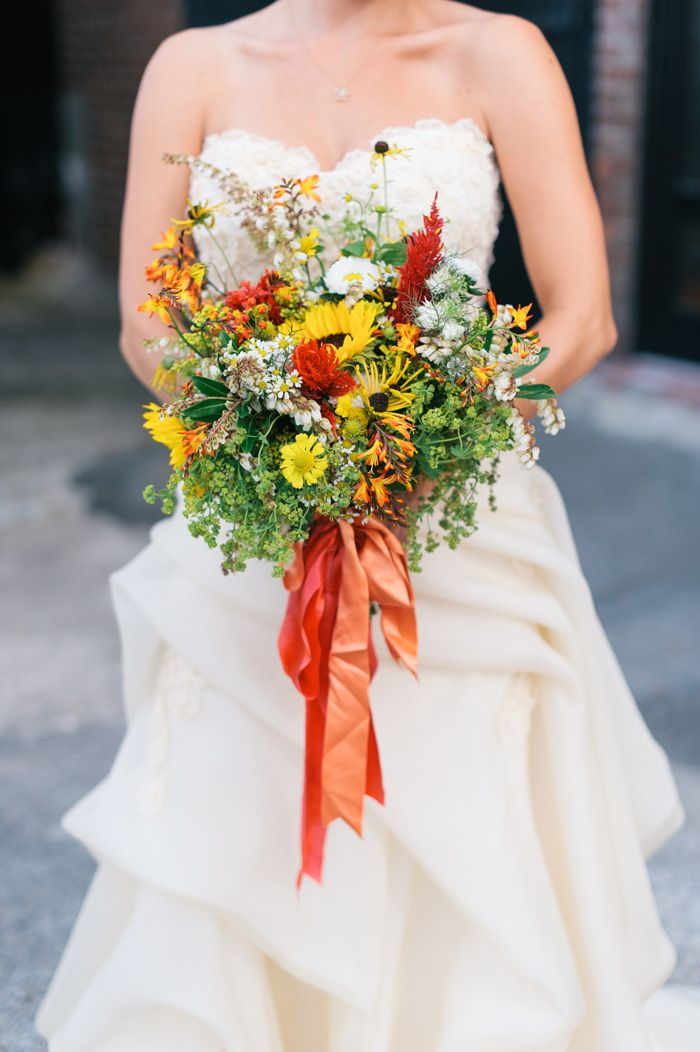 Wildflower bouquet for a 1960s inspired wedding at Brooklyn's Liberty Warehouse by Michelle Edgemont