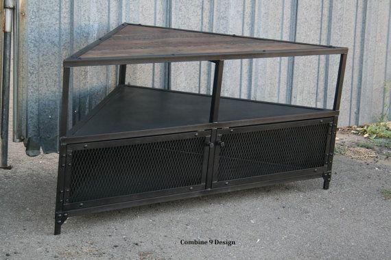Corner Unit/TV Stand.  Vintage/Modern Industrial, Mid Century. Steel & Reclaimed Wood. Urban. Rustic, Great for Loft. Media Console. AV A/V