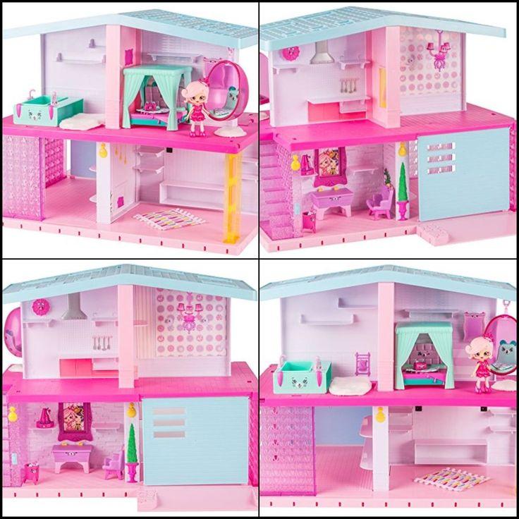 Happy Big Doll House Miniature Decor&Popette Shopkins Christmas Gift for Girl #Shopkins