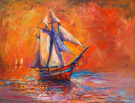 Original Oil Painting on Canvas-Sailing Ship-26x20 Original landscape-impressionistic oil painting by Ivailo Nikolov