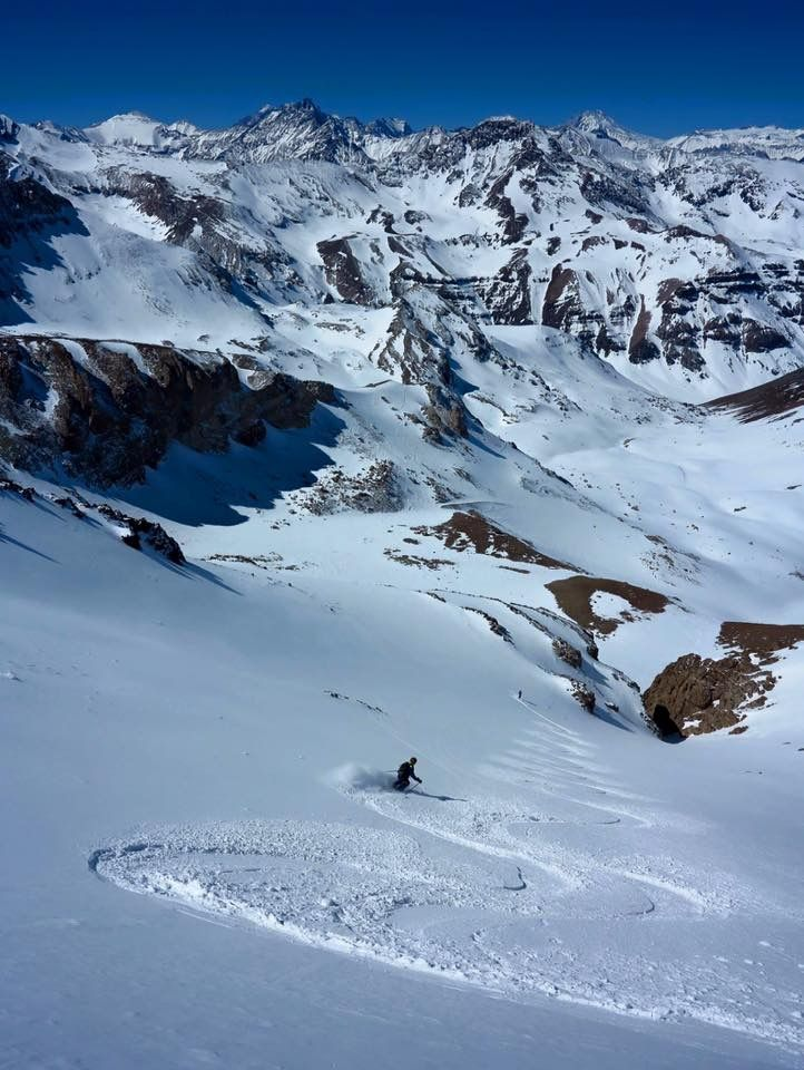 Second tracks from 4069m on top of La Parva, Valle Nevado, Chile!