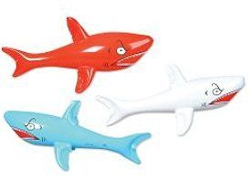 Inflatable Shark Assortment (1 dz) by Rhode Island Novelty. $13.99. Inflatable sharks make pool parties, beach parties and luaus more fun. Use them as party favors or decoration. Angry-looking inflatable sharks come in cheerful, assorted colors.