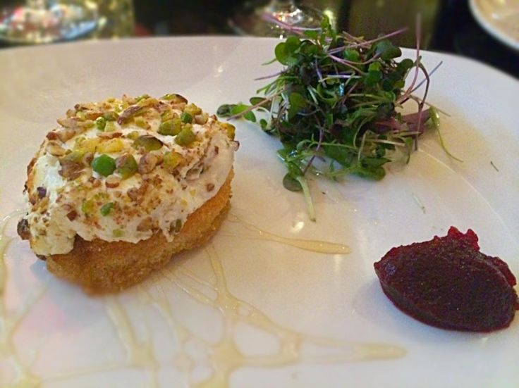 Wood fired Ardsallagh Irish goat's cheese with pecan and pistachio nuts, chestnut honey drizzle and beetroot compote