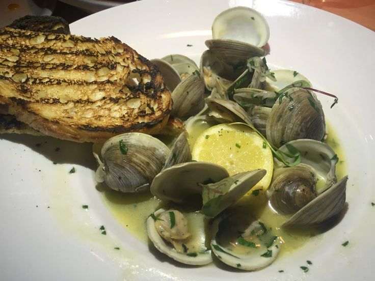 Steamed clams: garlic, white wine, country bread, Brasserie Lucille's, Montreal