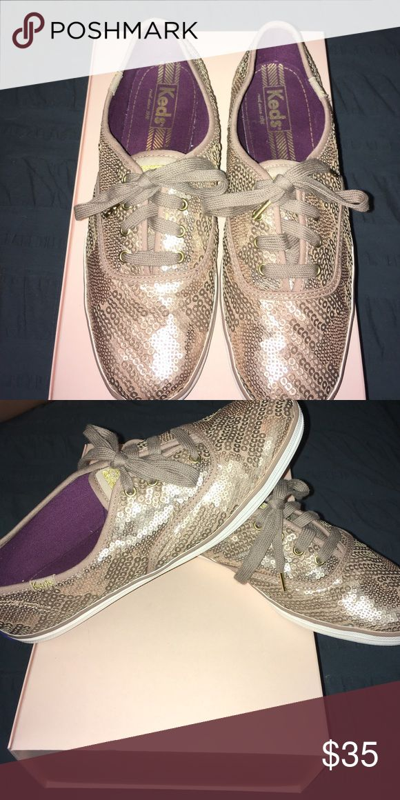 Gold-Sequined Ked Sneaker EUC Keds sneaker. Gold-sequined and very pretty. Absolutely no signs of wear and in perfect condition! I think they were worn once. Keds Shoes Flats & Loafers