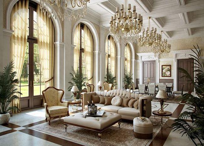 Klasszikus lakberendezés kanapé és csillárok
