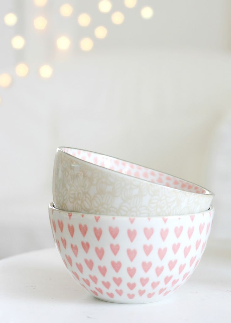gorgeous pink heart bowls spotted via icing designs