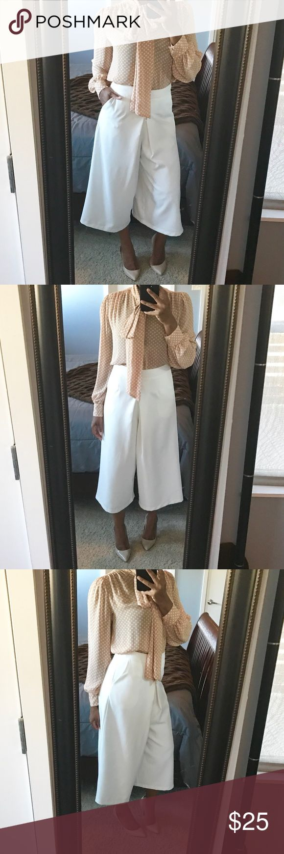 Semi Casual Culottes!! Semi casual white culottes featuring concealed back zip with hook closure and functioning side pockets!! Gently used condition!! True to size! L'ATISTE Pants