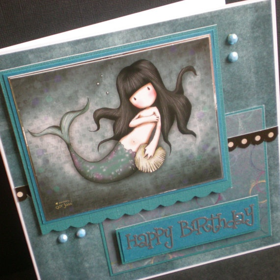 mermaid birthday card gorjuss female blank teen teal by jujucards, £2.25