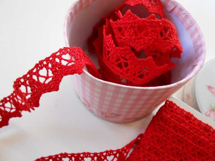 Pizzo di Cotone Rosso 2 cm. 5 metri di Raffa Supplies su DaWanda.com