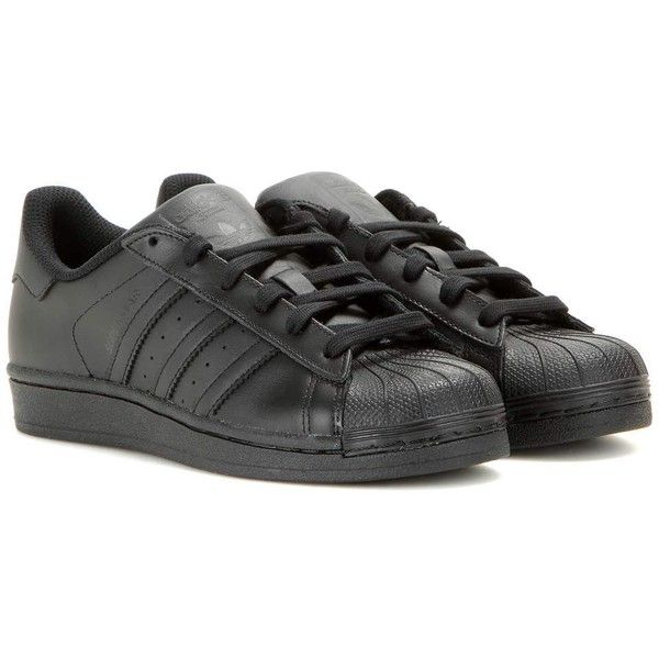 Adidas Superstar Foundation Leather Sneakers (6.920 RUB) ❤ liked on Polyvore featuring shoes, sneakers, black, leather footwear, leather trainers, kohl shoes, adidas trainers and black leather sneakers