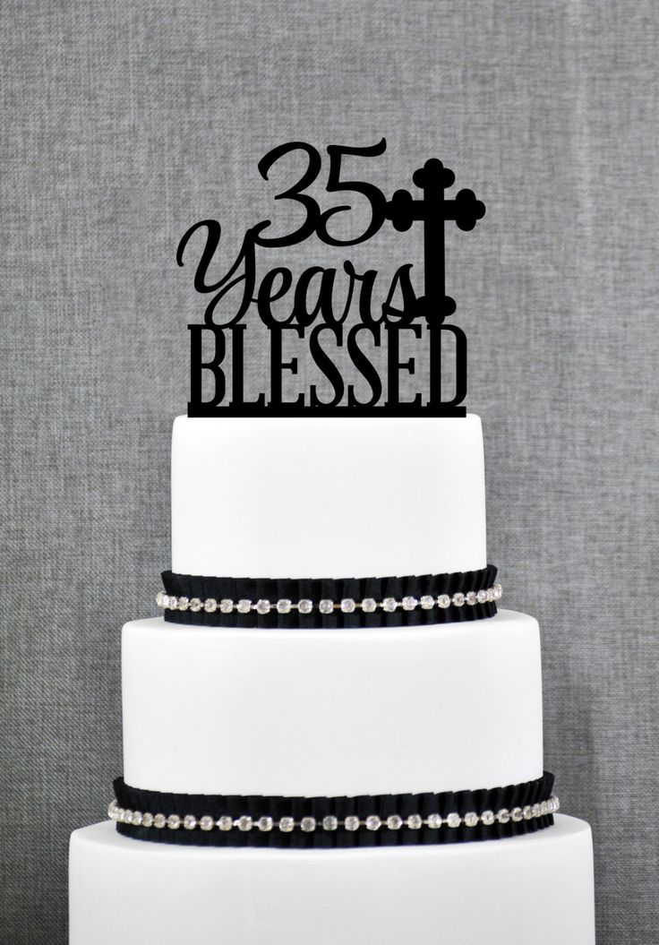 New to ChicagoFactory on Etsy: 35 Years Blessed Cake Topper Classy 35th Birthday Cake Topper 35th Anniversary Cake Topper- (S247) (15.00 USD)