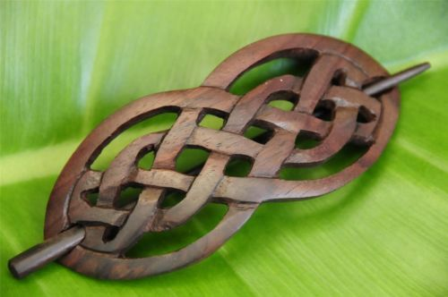 Carved wooden CELTIC Style Hair Pin Barrette Slide Clip Clasp Sono wood handmade