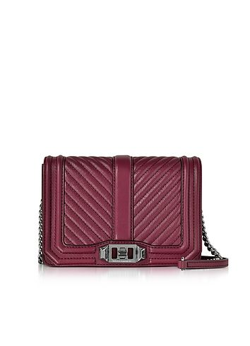 Rebecca Minkoff Beet Chevron Quilted Leather Small Love Crossbody Bag