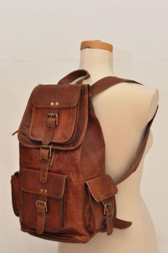 Large Vintage Style Real Genuine Leather Bag Rucksack Backpack Dark Brown #Backpack