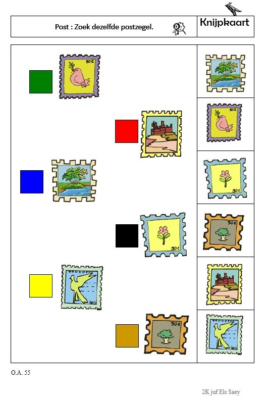 Knijpkaart : Zoek dezelfde postzegel -> opdrachtkaart