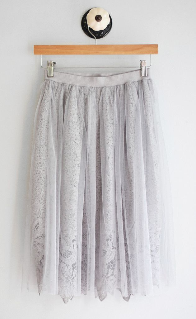 "Beautiful gray tulle skirt with lace underlay. Elastic waistband. Waist: small: 26"", medium: 28"", large: 30"" + elastic waist stretch Full Length: small- 26"", medium- 26"", large-27"" || Slip Length: sma"