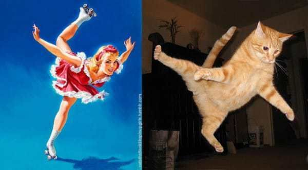 These Pictures Of Posing Cats Paired With 1950s Pin-Up Models Are Hilarious.