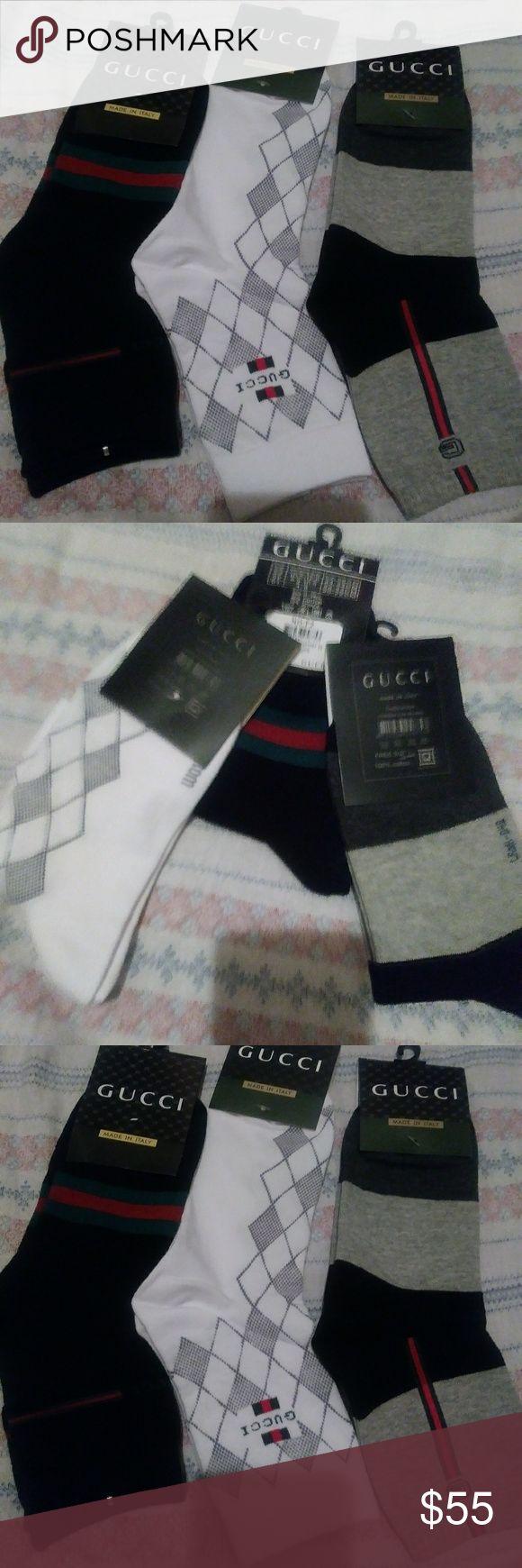 3pairs GUCCI 100%cotton socks unisex 3pairs New in package Gucci. Cotton socks unisex Gucci Accessories Hosiery & Socks