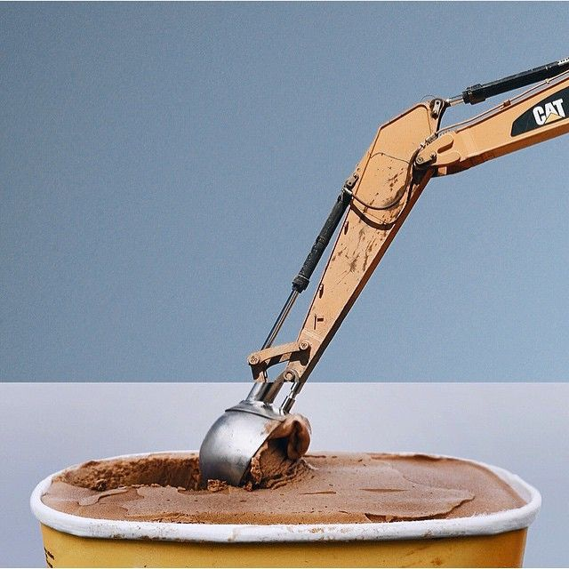 Indulge in this excavator + ice cream scoop #combophoto. Photographer @smcmennamy combines his photos in a genius + fun way. (Great share, @aigadesign!)