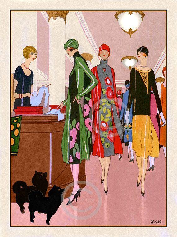 Art Deco Flapper Fashion Print Ladies by DragonflyMeadowsArt
