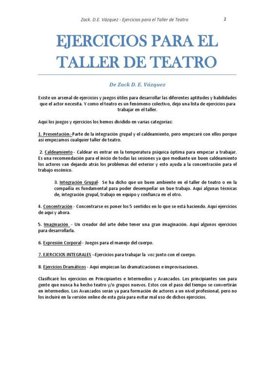 200 ejercicios de actuación tanto para teatro como para cine.