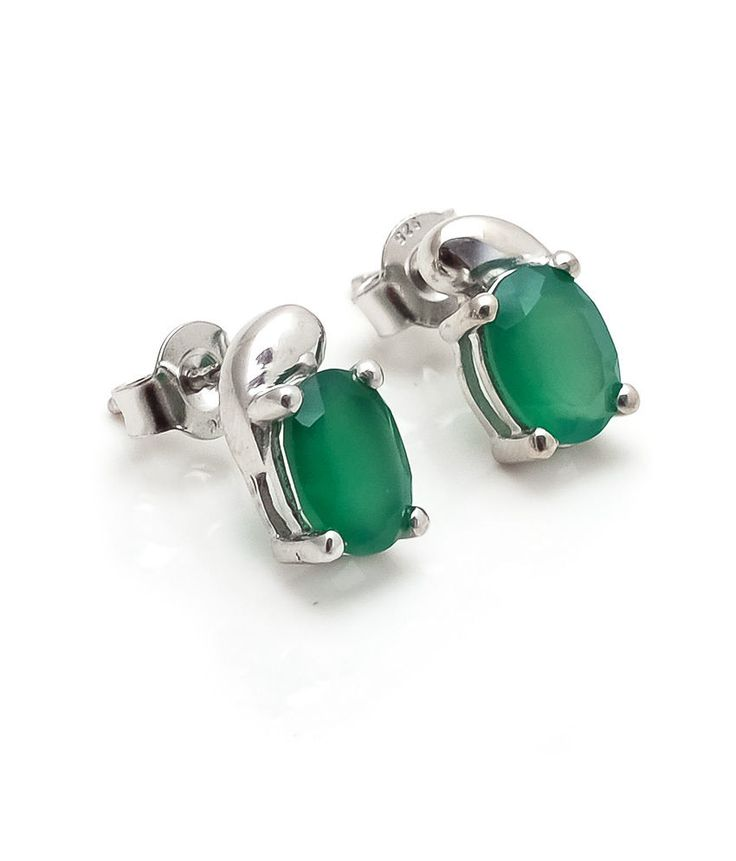 Green Onyx Earring Natural Gemstone Prong Set in Solid 925 Sterling Silver SDE28 #Rananjay #StudEarrings