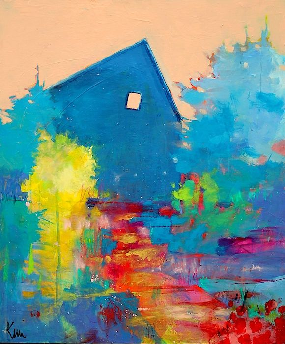 Colorful Abstract Landscape Painting With A Farmhouse In A Country Scene Painted By Kerri Blackman Abstract Modern Art Paintings Abstract Modern Art Abstract