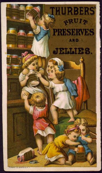 Title: Thurbers' fruit preserves and jellies / Forbes Co., Boston & N.Y. Date Created/Published: [between 1850 and 1900(?)] Medium: 1 print : lithograph, color. Summary: Advertising card for Thurbers' fruit preserves and jellies, showing seven little girls with jars of preserves and jelly on shelves.
