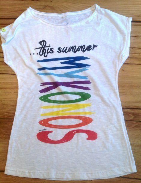 "Tshirt donna ""...this summer MYKONOS"" rainbow http://www.assodibottoni.com/tshirt-maglietta-donna-mykonosrainbow.html"