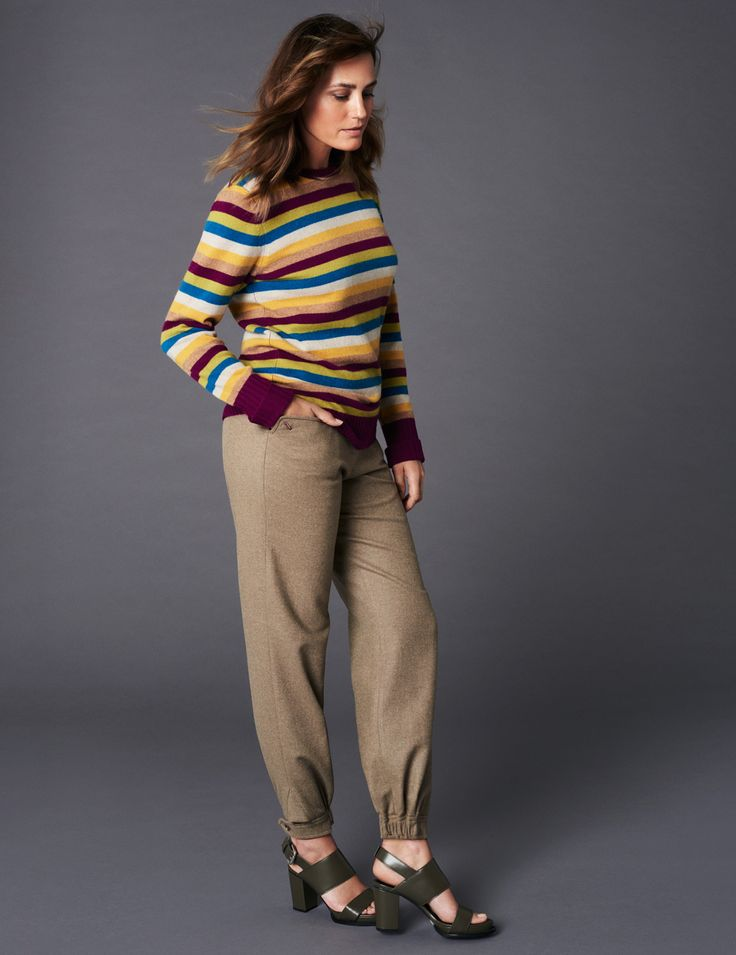 Cashmere Stripe Boyfriend Jumper & Herringbone Tweed Trouser