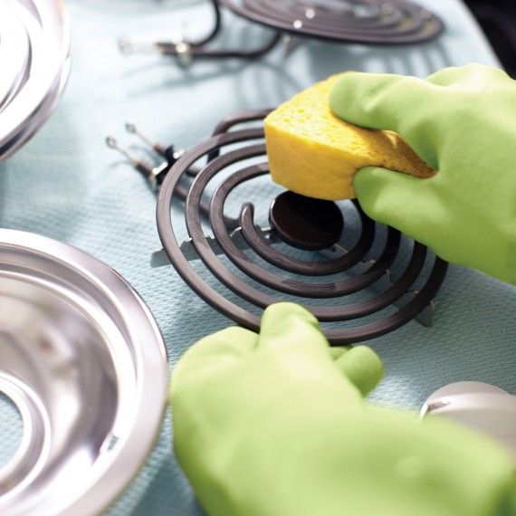Electric Stove Tops: Remove coils & reflector bowls. Wipe coils w/damp sponge. Wipe clean reflector bowls w/hot water & mild cleanser. Open stove top & wipe w/damp sponge. Remove knobs & wash w/warm water & dishwashing liquid-Don't soak or use a cleaner w/ammonia or abrasives as it may remove graphics-Dry thoroughly & replace. (Burn off coil residue-put back on the stove, run exhaust fan & turn burners to high.) Also many methods here…