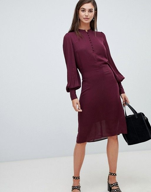6393080931cf Y.A.S Tall balloon sleeve textured tie waist midi dress in burgundy in 2019  | Dream Wardrobe | Dresses, Dresses for work, Sleeves