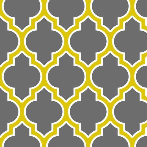 Moraccan quatrefoil lattice in gray fabric by spacefem on Spoonflower - custom fabric