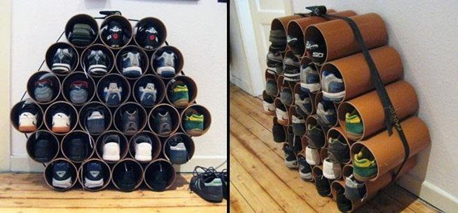This simple yet cool DIY shoe storage shouldn't be too difficult to complete. You can get PVC pipe from your local hardware store and either have them cut it, or you can do it at home if you have a table saw. Or opt to buy concrete forming tubes, which may be a little cheaper & easier to cut ~ great idea for lots of little stuff, besides shoes