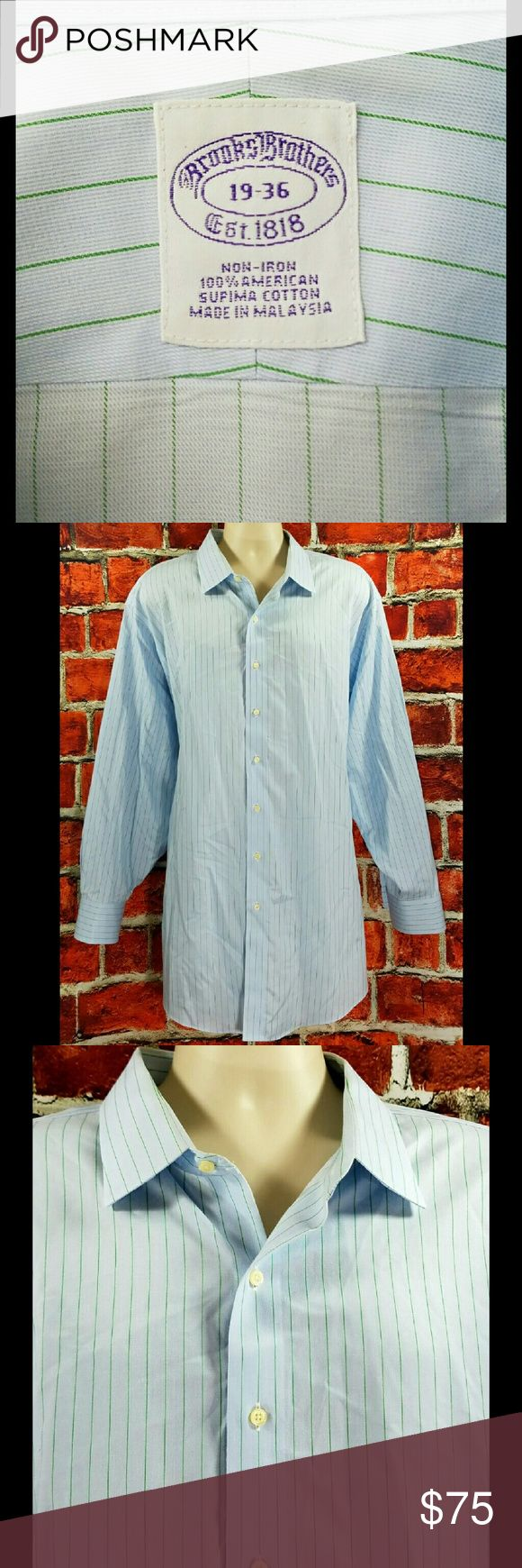 Brooks Brothers Big & Tall Dress Shirt 3XL 19-36 Brooks Brothers Classic Fit Non Iron Supima Cotton Dress Shirt Size: 3XL 19-36  About this item:  Excellent to Mint Condition 100% American Supima Cotton Non-Iron Light Blue & Green Striped  Size: 19-36 Across Chest: 30 Length: 36 Sleeve: 25 Brooks Brothers Shirts Dress Shirts