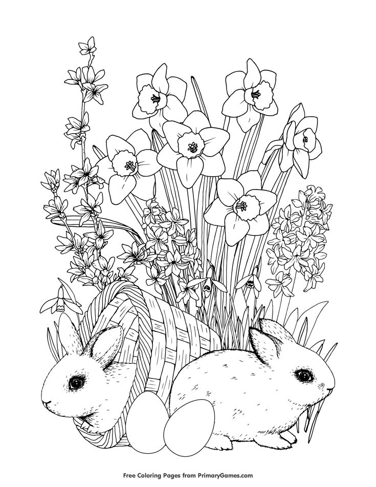 Bunnies and Spring Flowers Coloring Page • FREE Printable