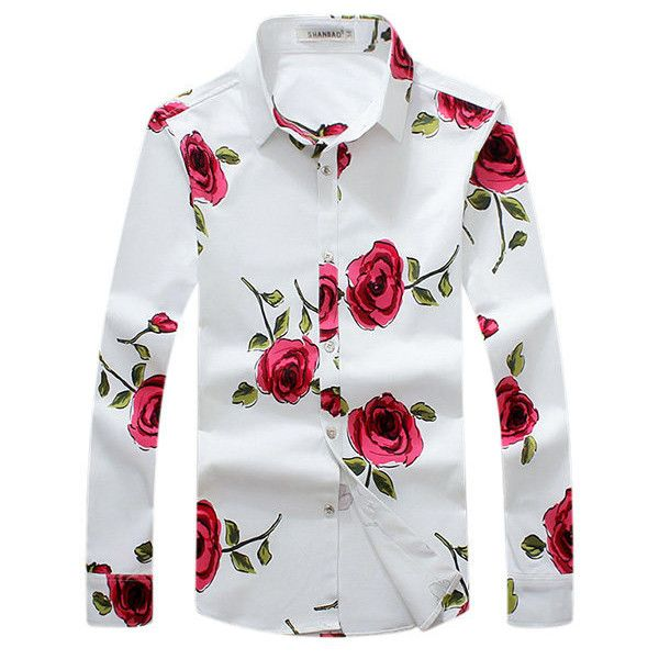 Plus Size Long Sleeves Flower Printing Cotton Dress Shirts ($34) ❤ liked on Polyvore featuring men's fashion, men's clothing, men's shirts, men's dress shirts, mens floral dress shirts, mens long sleeve collared shirts, mens slim fit shirts, mens cotton shirts and mens white shirts